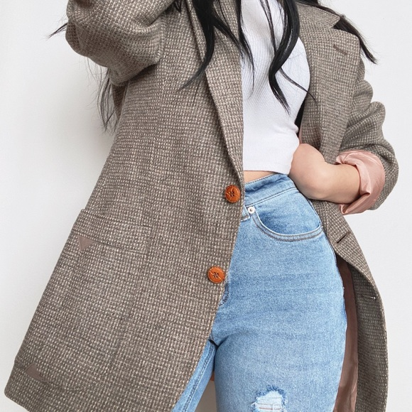 100% Wool Vintage Plaid Blazer -Size 40